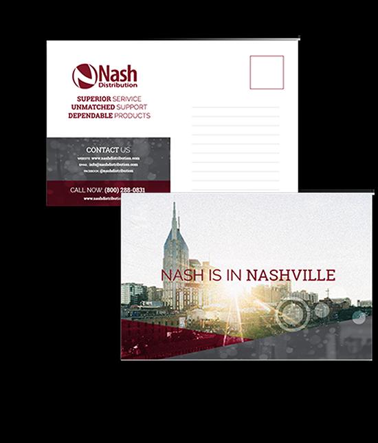 Nash Distribution   Custom Graphic Design   Postcards   Greenbaum Stiers Strategic Marketing Group  